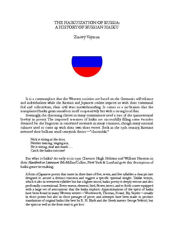 The Haikuization of Russia